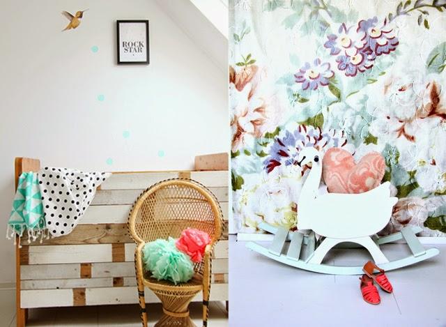 habitacion-mural-flores-cuna-madera-decapada