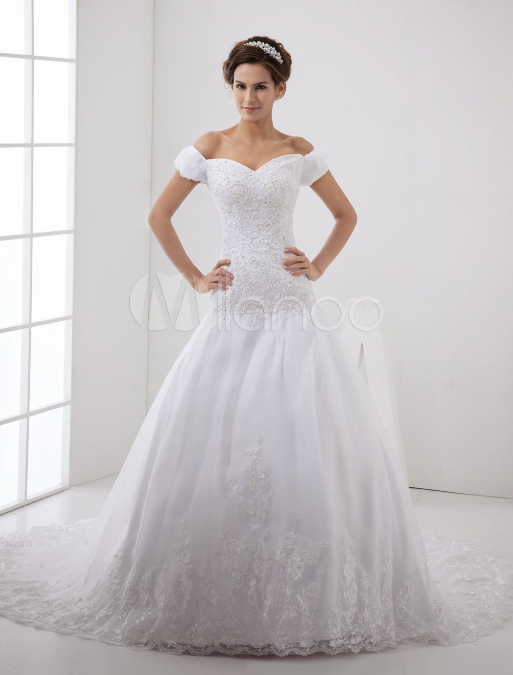 China Wholesale Dresses - White Off-The-Shoulder A-line Lace Organza Wedding Dress