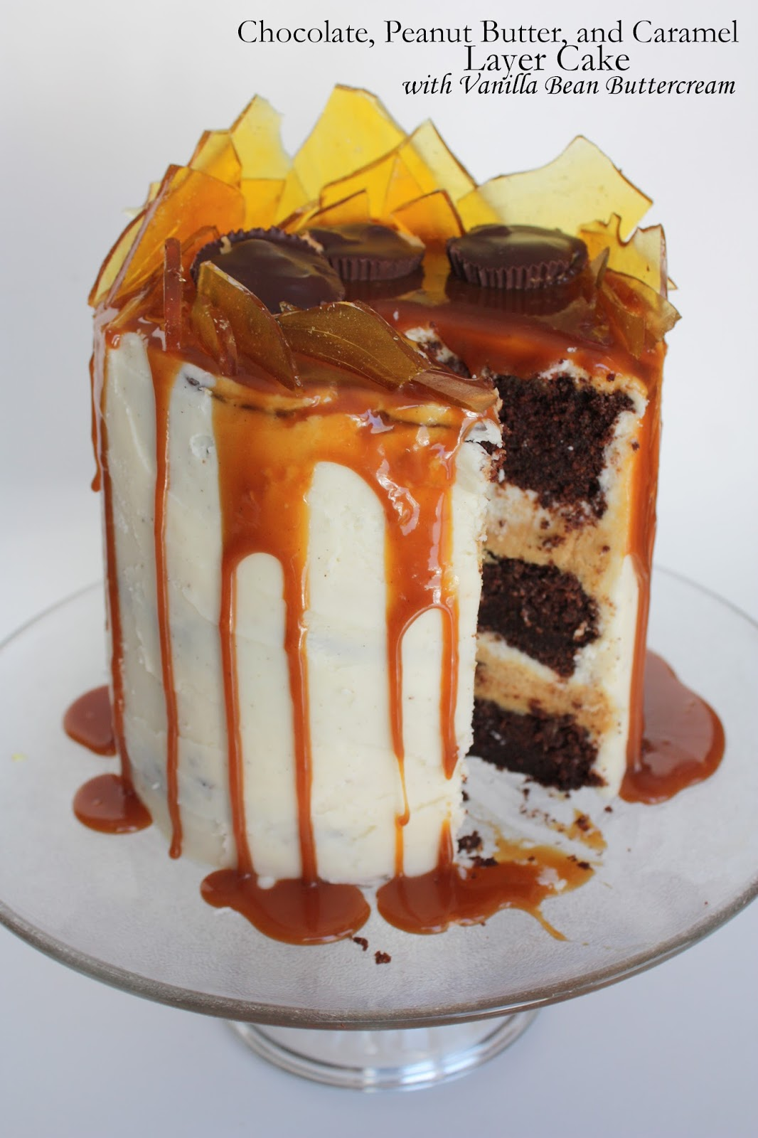 chocolate, peanut butter, and caramel layer cake with vanilla bean ...