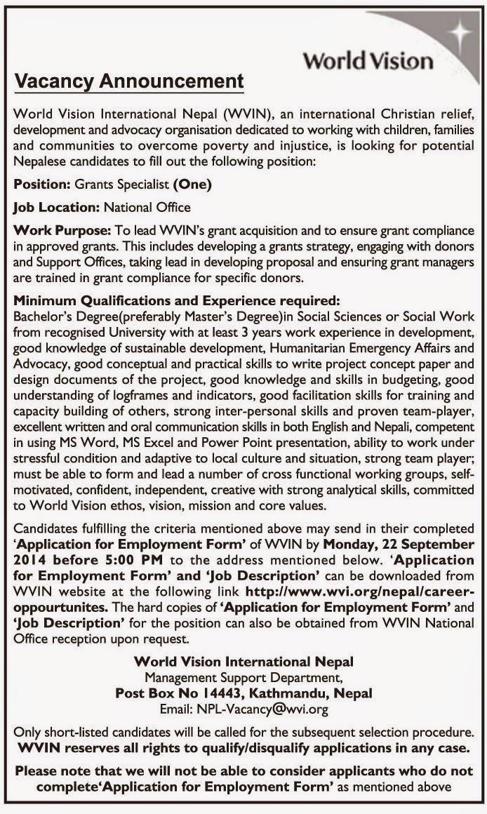 Vacancy in World Vision International Nepal | Jobs in Nepal