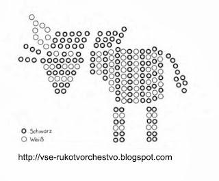 Простая зебра из бисера для начинающих. Схема