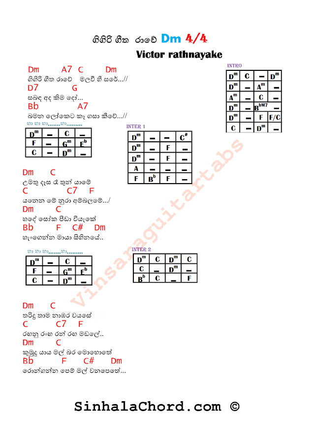 Gigiri Geetha Rawe Guitar Chords with Lyrics : Sinhala Guitar Chords:Sinhala Songs Chords:Guitar ...