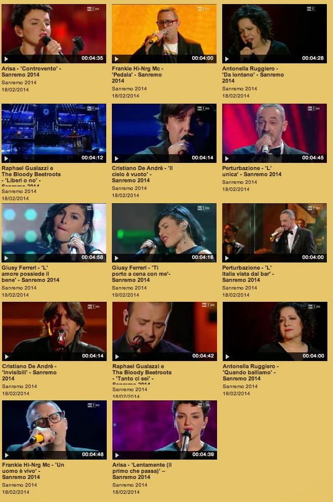 Esibizioni della prima serata Sanremo 2014 su rai.tv visto su viaoptimae.com