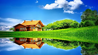 House in the Field free computer wallpaper background