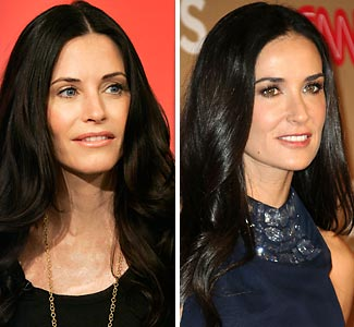 Brunette Actresses Courteney Cox And Demi Moore Are Only Two Years Apart And Both Married Younger Men See Pictures Of Them Together