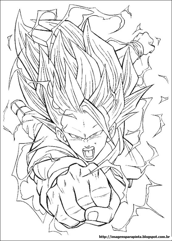a desenhar Dragon ball z super sayajin colorir