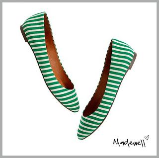 Green and white striped flats from Madewell