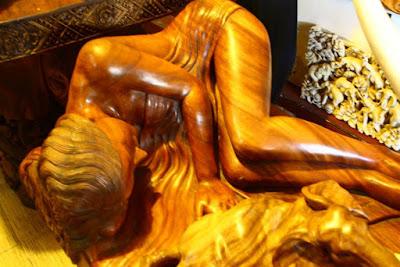 Wooden woman statue at Ubud Bali