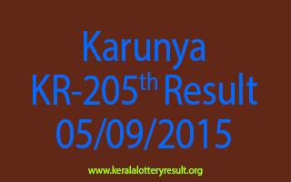 Karunya KR 205 Lottery Result 5-9-2015