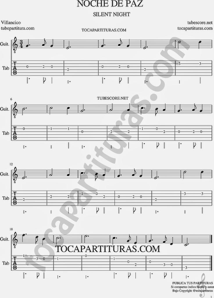 Tubepartitura Noche de Paz Tablatura y partitura de guitarra Punteo de Noche de Paz Villancico Popular