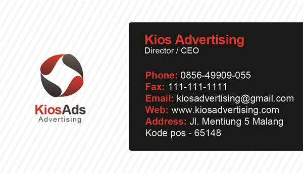 Contoh Desain ID Card Kios Advertising - Kios Advertising