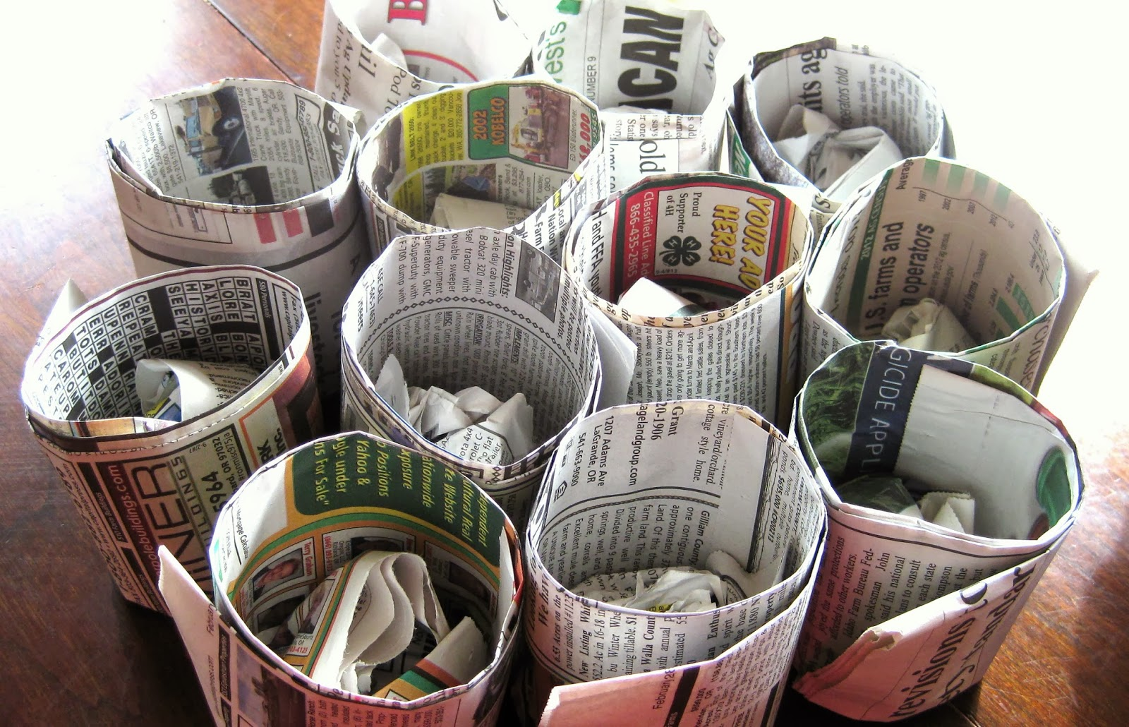 diy Newspaper starter pots