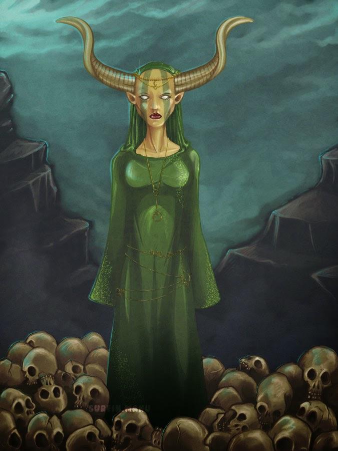 cernunnos en version femme, réalisé avec Clip Studio Paint