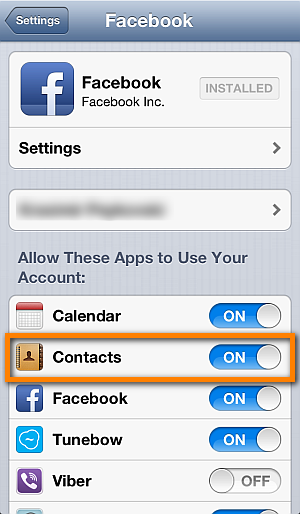 allow iphone contacts app to use facebook account