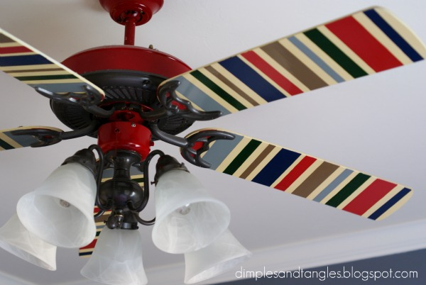 Sassy ceiling fans dimples and tangles much better than the original and much more personal than anything i could have found at the store i taped off the blades and painted them with acrylic aloadofball Gallery