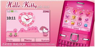Hello Kitty with Clock C3 theme by zayedbaloch Download Tema Nokia C3 Gratis
