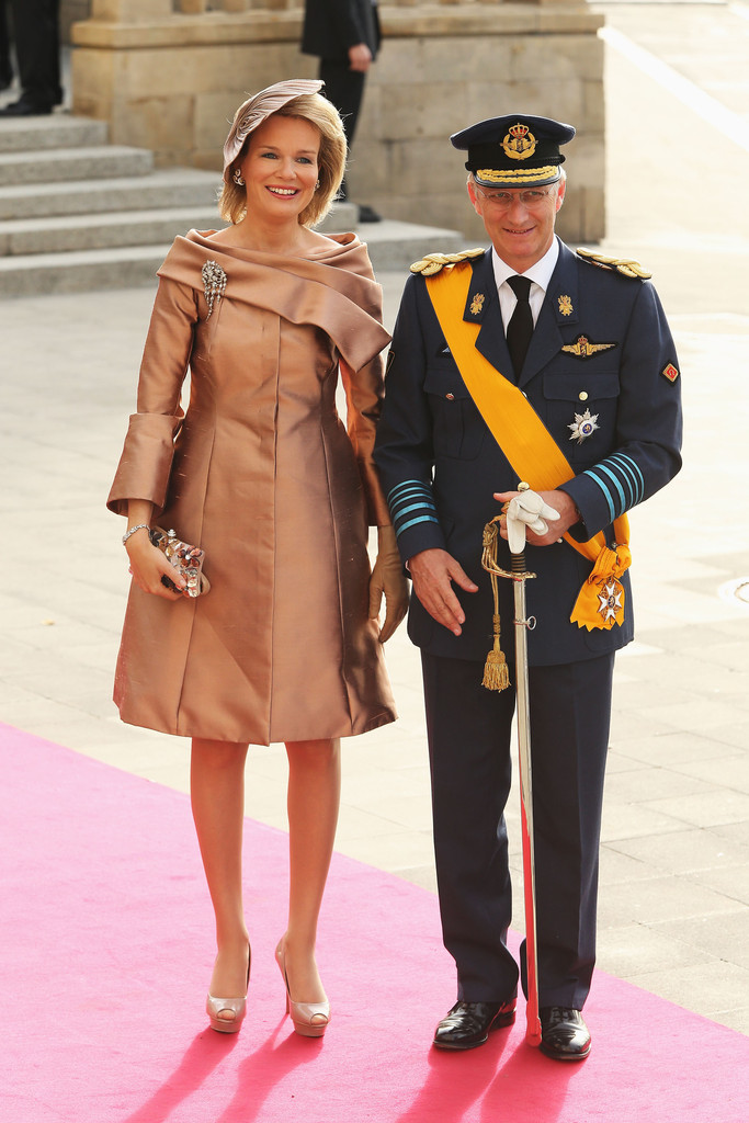 Princess Mathilde of Belgium and Prince Philippe II of Belgium attend the  wedding ceremony of Prince Guillaume Of Luxembourg and Princess Stephanie  of ... 977e593c2