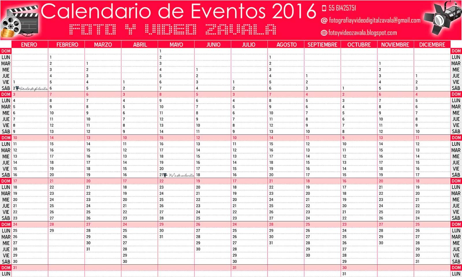 Calendario agenda de eventos 2016 - Calendarios para Photoshop gratis.