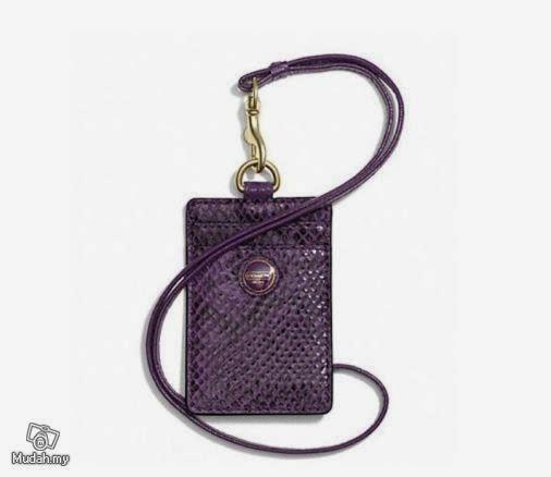 Coach Purple Snake Skin ID Lanyard