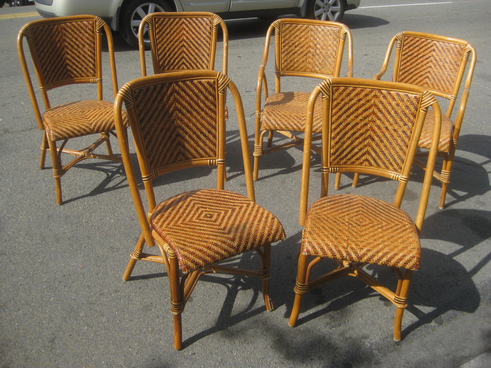 Uhuru Furniture Amp Collectibles Sold Six Rattan And Wicker Chairs 95