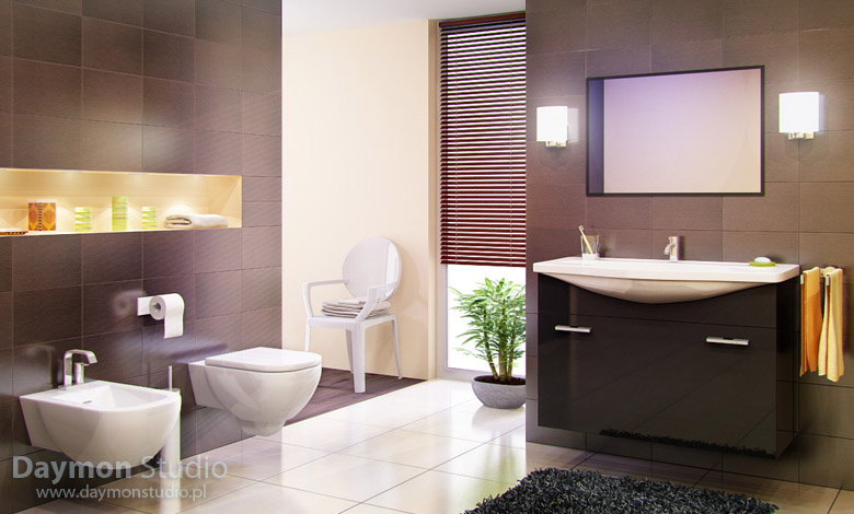 Modern bathroom with brown tiles