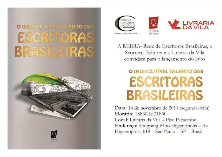 CONVITE DE LANÇAMENTO EM SÃO PAULO DO LIVRO DA REBRA -REDE DE ESCRITORAS BRASILEIRAS EM 14/09/11