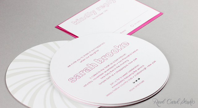 3-ply gloss white with fuchsia center duplex, diecut circle, foil printing, pearl foil candy swirl