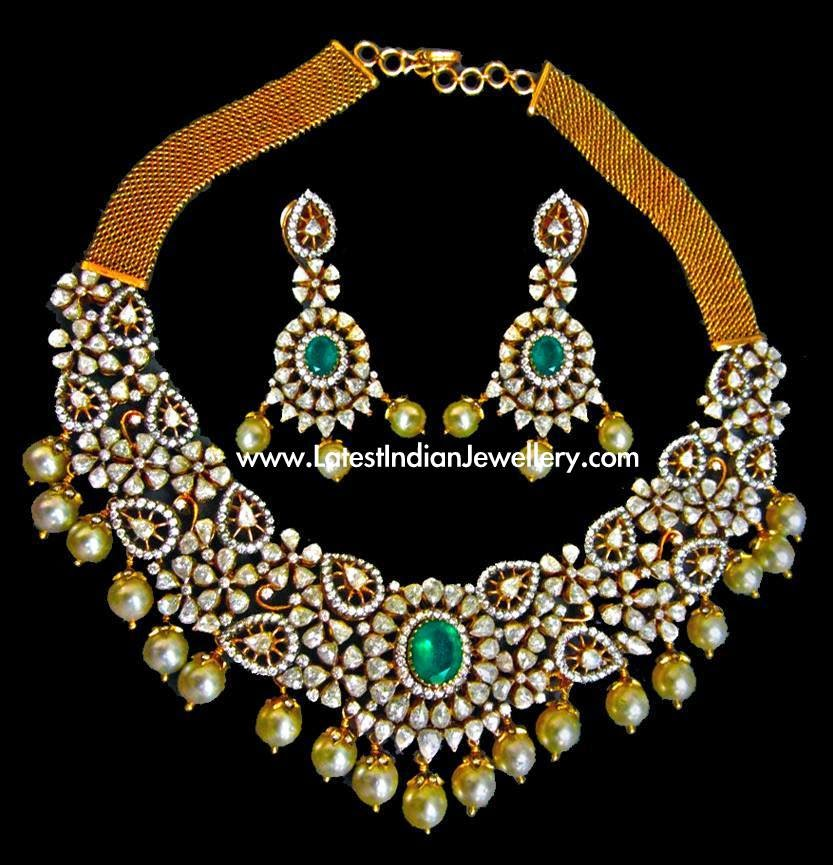 Rose Cut Diamonds Indian Necklace