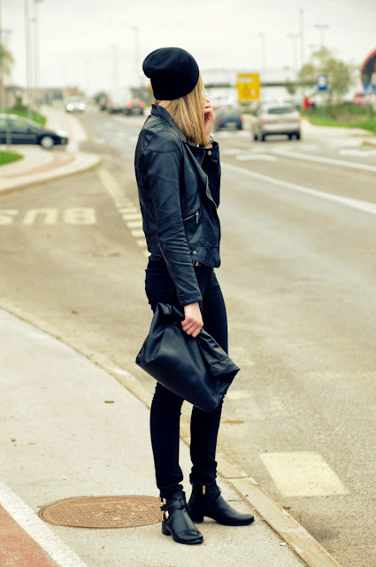 black beanie H&M hm, zara leather jacket, polish online store, polska trgovina, stylowe buty store, ankle boots stylowebuty, all black outfit, fashion blog, fashion blogger, fashion trends 2014, outfit