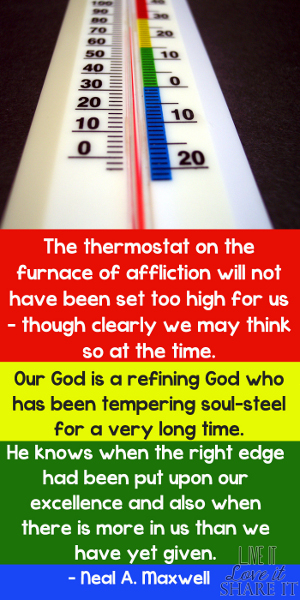 The thermostat on the furnace of affliction will not have been set too high for us – though clearly we may think so at the time. Our God is a refining God who has been tempering soul-steel for a very long time. He knows when the right edge had been put upon our excellence and also when there is more in us than we have yet given. - Neal A. Maxwell