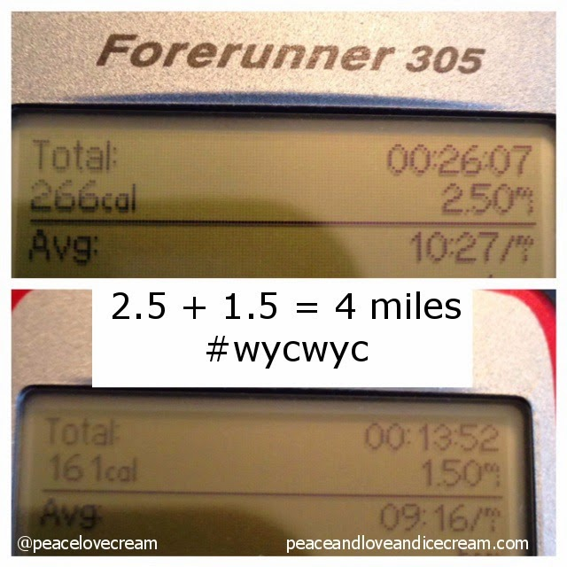 #wycwyc garmin 1.5 miles and 2.5 miles. 4 mile run