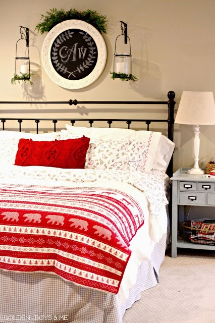 Christmas master bedroom with DIY monogram on round chalkboard-www.goldenboysandme.com