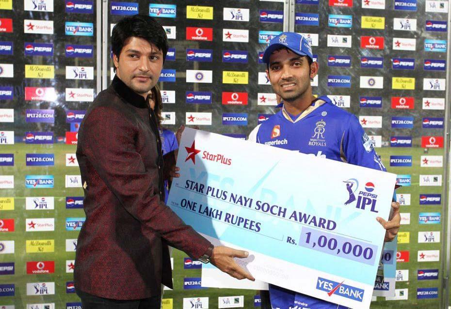 Ajinkya-Rahane-Nayi-Soch-Award-RR-vs-KXIP-IPL-2013