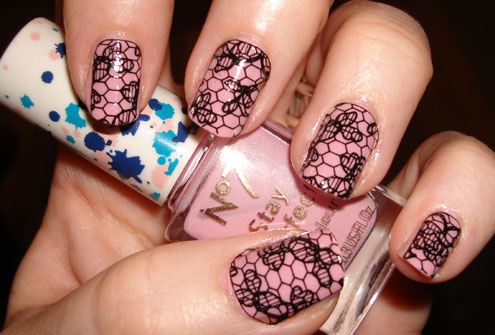 lace wraps, pink nail art