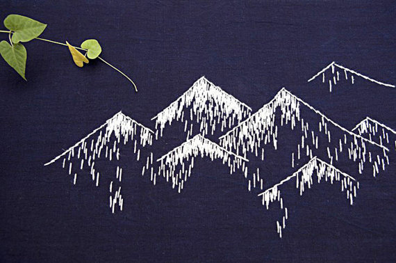 sashiko embroidery, mountain embroidery, mountains stitching, mature embrtoidery,