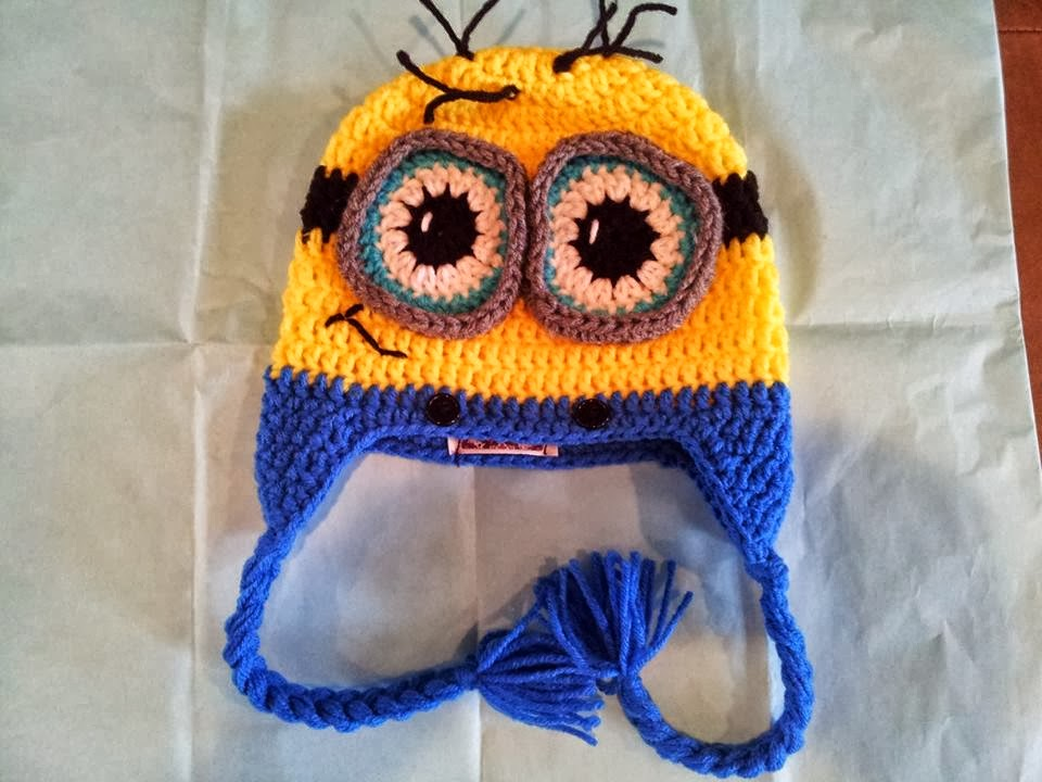 Free Crochet Pattern Minion Beanie : Havoc Mayhem Creations : Minion Beanie 9-12 months Pattern
