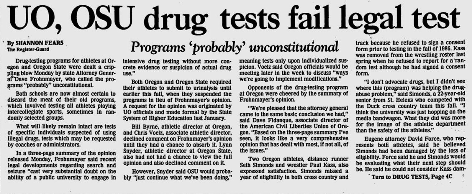 drug testing high school athletes The effectiveness of mandatory-random student drug testing school-wide records, and drug testing data b student awareness of drug testing.