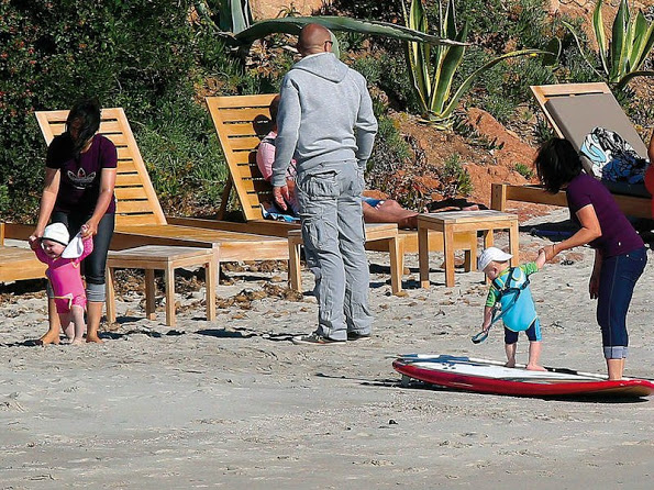 Princess Charlene And Her Children At The Beach In Corsica