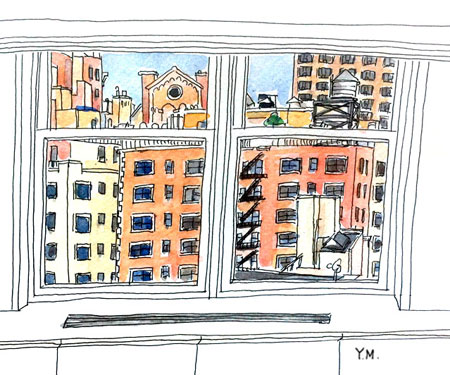 New York City from window by Yukié Matsushita