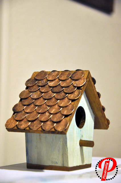 painted the trim copper and then super-glued pennies to the roof as ...