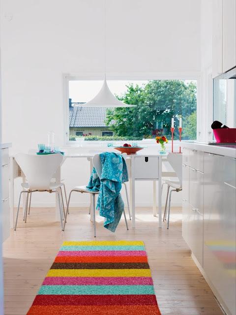 Barwny chodnik w białej kuchni