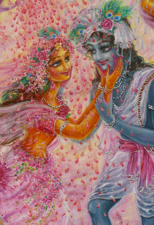 Image of Krishna Radha Playing Flower Holi