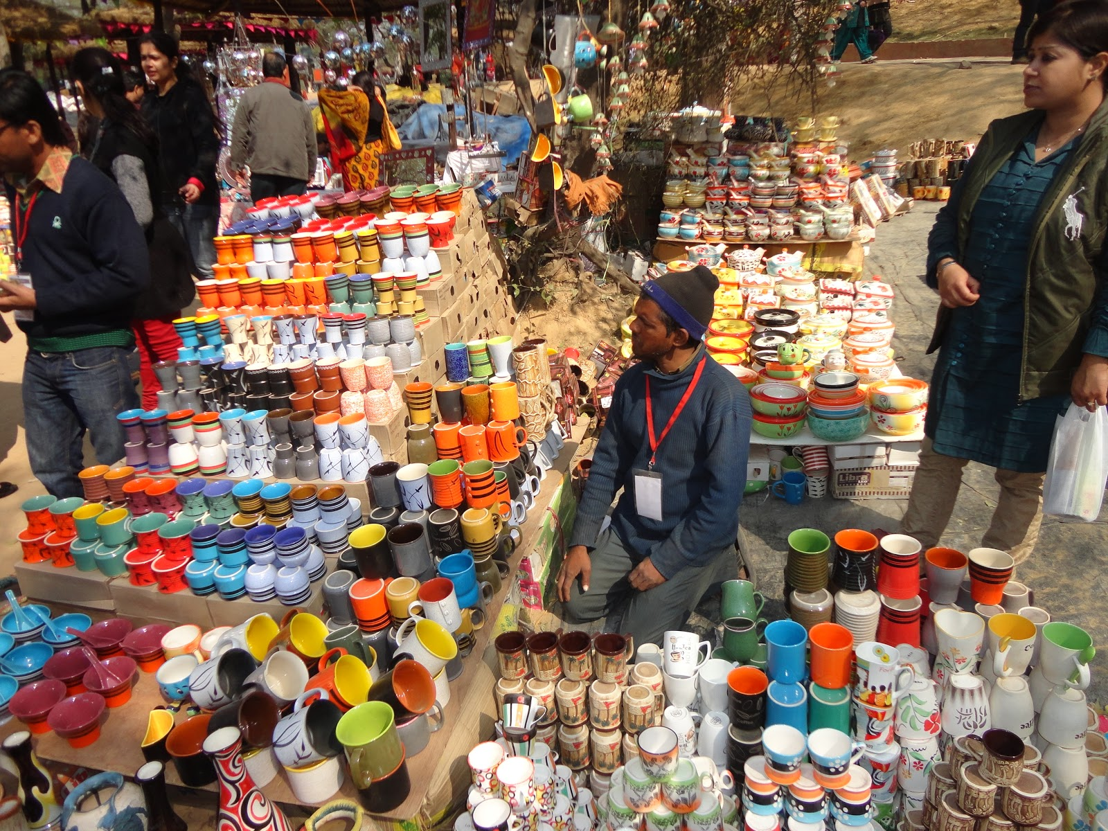 Colorful Coffee Mugs at Surajkund Crafts Mela,India