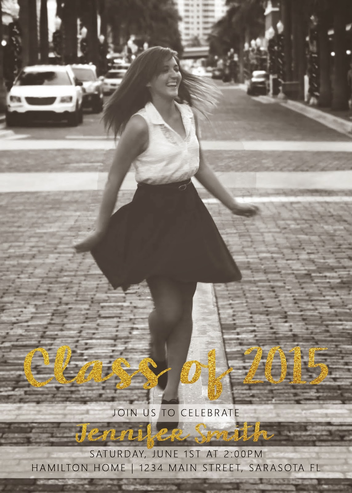 Black, White & Gold 2015 Graduation Announcement