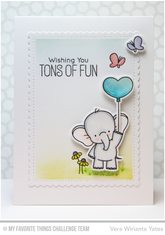 Tons of Fun Card by Vera Wirianta Yates featuring the Birdie Brown Adorable Elephants stamp set and Die-namics #mftstamps
