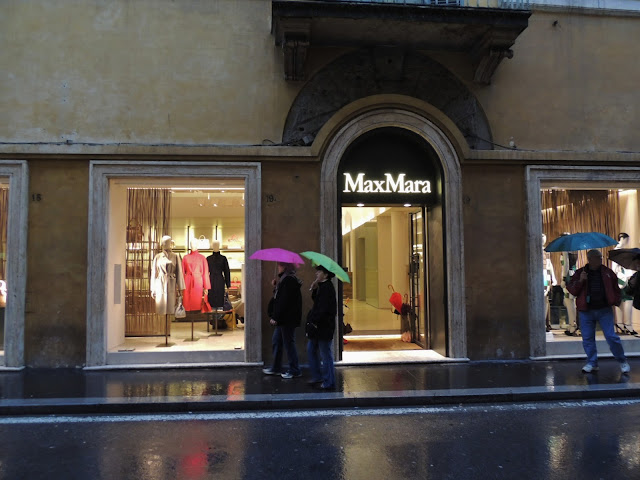 MaxMara store in Rome, Italy, in the rain