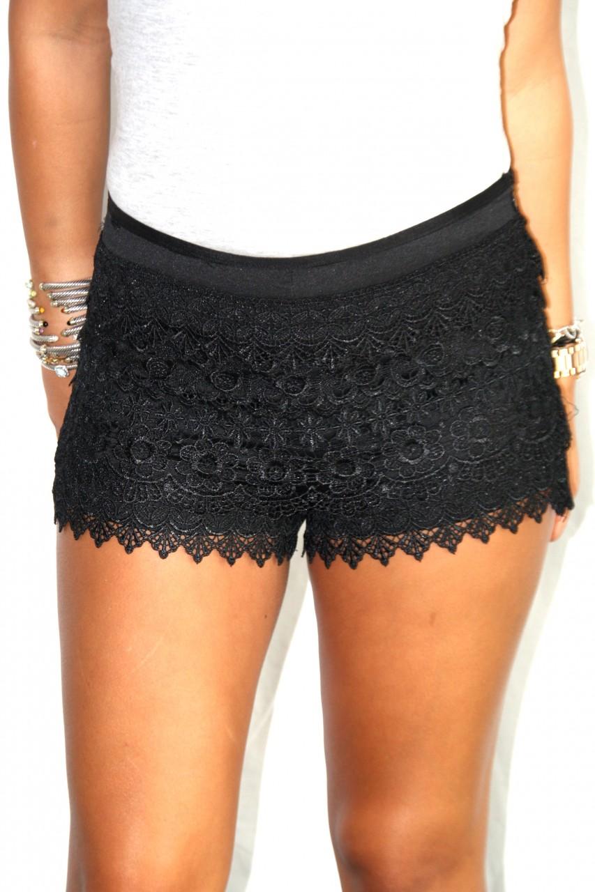 Topshop - Women's Clothing Women's Fashion Black lace shorts fashion