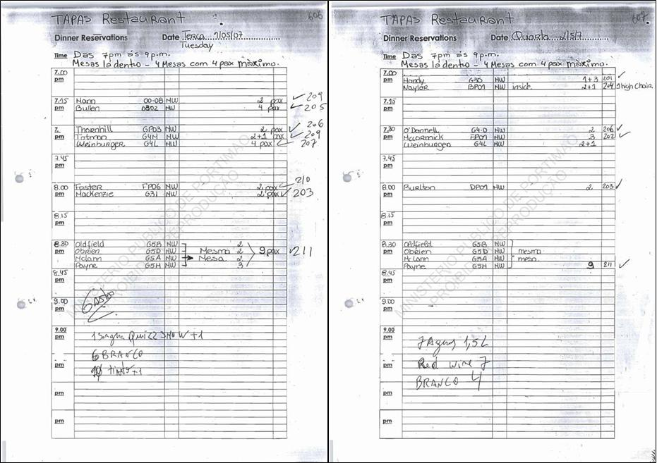 Reservation Sheets For Book 581 024 Pictures
