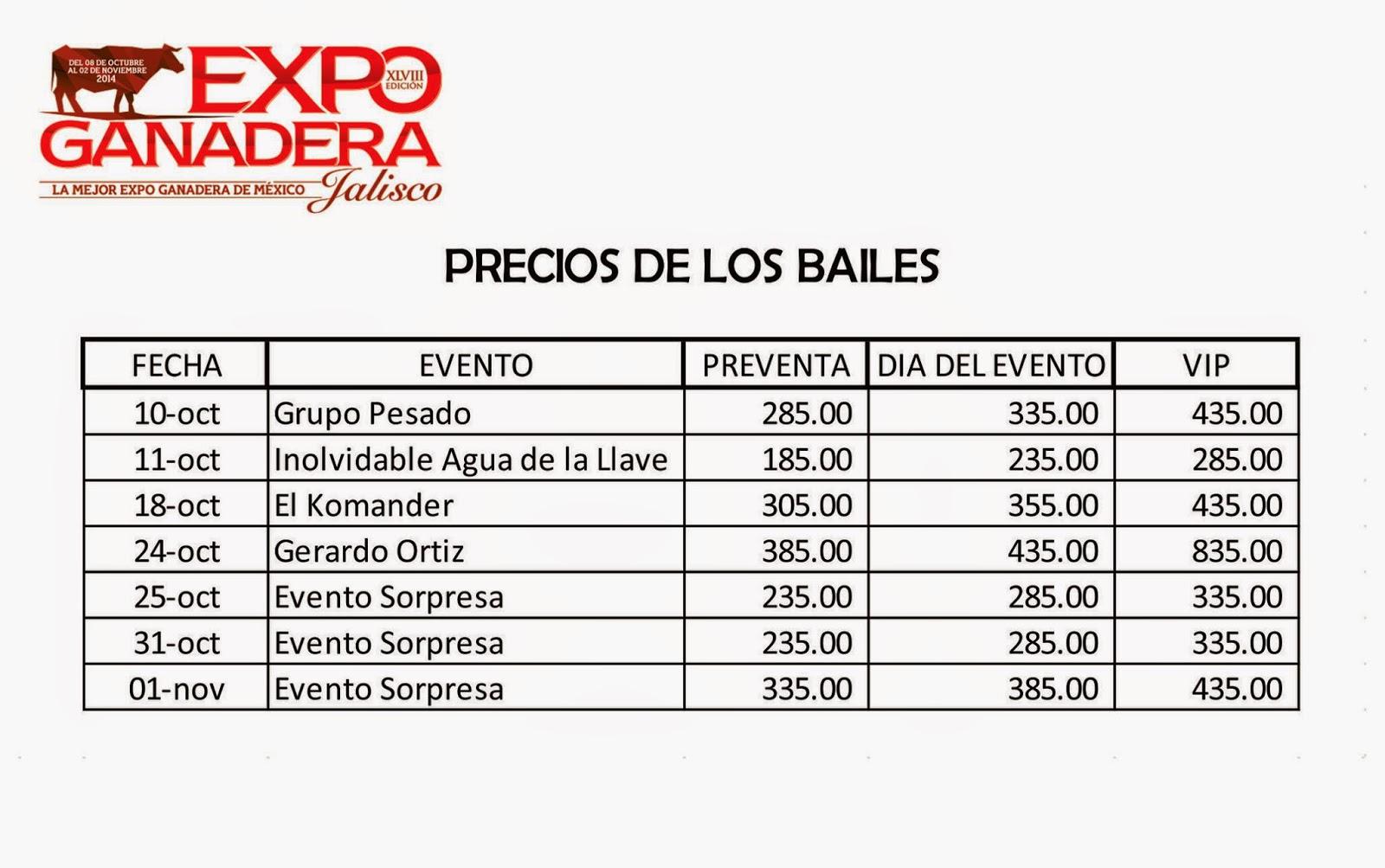 precio de boletos expo ganadera jalisco 2014