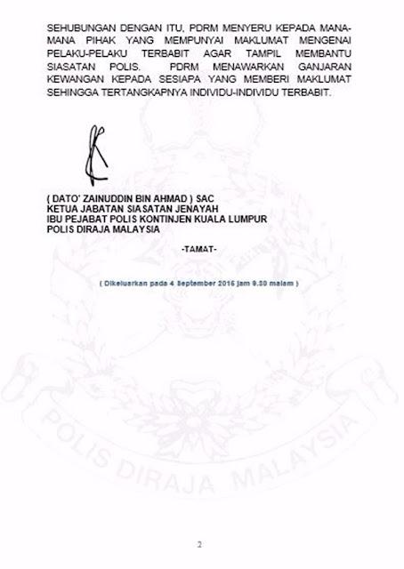 Pijak Gambar Najib Dan Hadi: PDRM Tawar Ganjaran Kepada Pemberi Maklumat